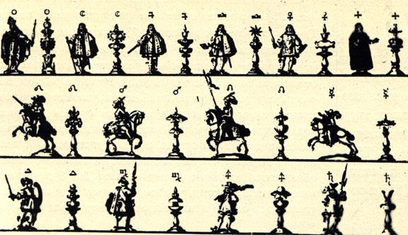 В трактате о шахматах Вейкмена (1664 г.) рядом с шахматными фигурами изображены фигуры людей, выполняющих соответствующие функции