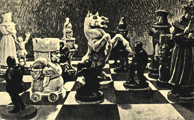 Ожесточенное сражение на шахматной доске. Гротеск неизвестного итальянского художника