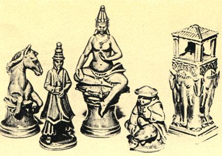 Сиамские шахматы в стиле классической индокитайской скульптуры