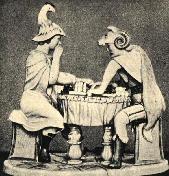 Древнегерманские воины за шахматной доской. Немецкая фарфоровая статуэтка 1772 г., сделанная по проекту Ц. А. Люпляу. Тема решена художником несколько произвольно, поскольку шахматы не были известны германским племенам