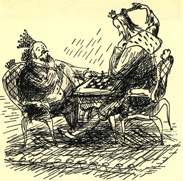 'Шах! Мах!' Шуточный рисунок, иллюстрация A. Mapчинского к книге В. Жукровского ' Похищение в Тютюрлистане'