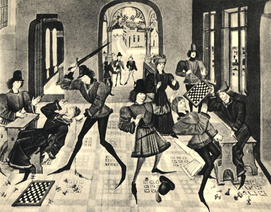 'А началось все так невинно...' Миниатюра из французской рукописи XV века, описывающей судьбы Рэно де Монтобана, героя средневековых рыцарских песен