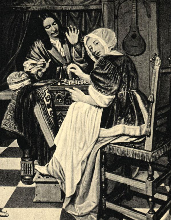 Корнелис де Ман (XVII в.): 'Мужчина и женщина играют в шахматы'. Из собрания картинной галереи в Будапеште
