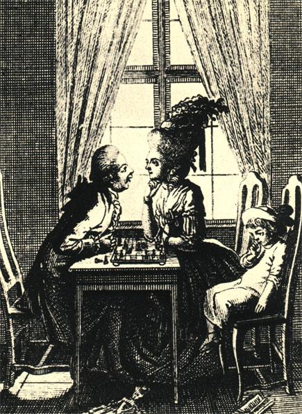 Даниель Ходовецки: 'Воспитание'. Эстамп конца XVIII в.