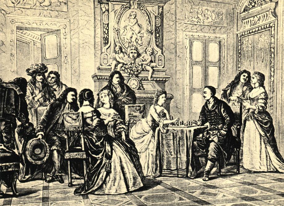 Находясь в гостях у французского короля, будущий польский король Ян Собески познакомился во время игры в шахматы с Марией Казимирой д'Аркьен, на которой женился спустя несколько лет. Польская гравюра 1871 года, иллюстрация к стихотворению Т. Ленартовича 'Мат королевой'