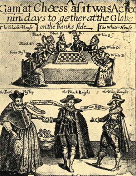 Титульный лист пьесы Томаса Миддльтона 'Шахматная партия', поставленной в лондонском театре 'Глоб' в 1624 г.