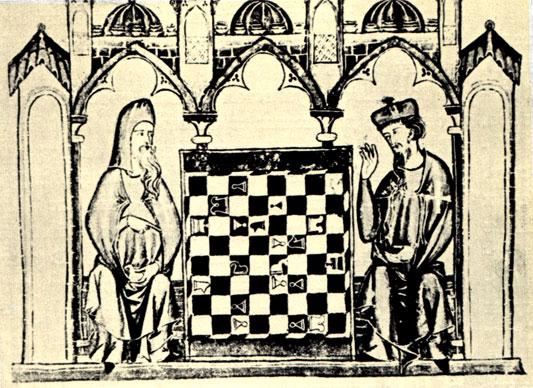 Миниатюра из богато иллюстрированной рукописи о шахматной игре, принадлежавшей перу испанского короля Альфонса X Мудрого (1283 г.) и представляющей собой ценнейший памятник средневековой письменной культуры. Экземпляр хранится в Библиотеке Эскуриала