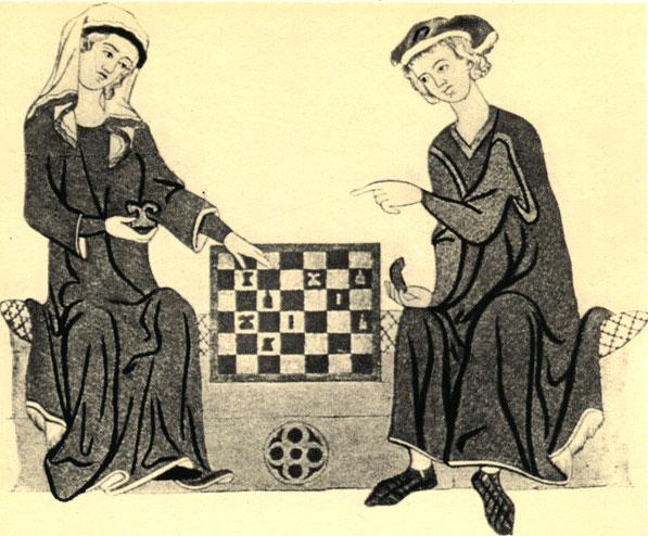 Маркграф Отто IV Бранденбургский играет в шахматы. Фрагмент миниатюры из немецкой рукописи Манесса (начало XIV в.)