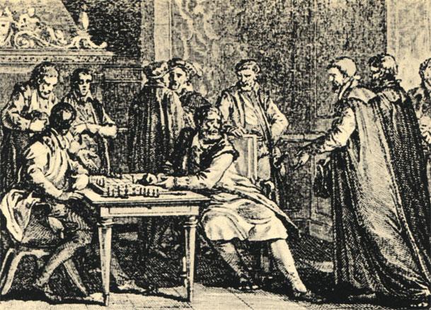 Английский король Иоанн Безземельный (1167-1216) принимает французских послов во время игры в шахматы. Рис. Моро ле Жен (1782 г.)