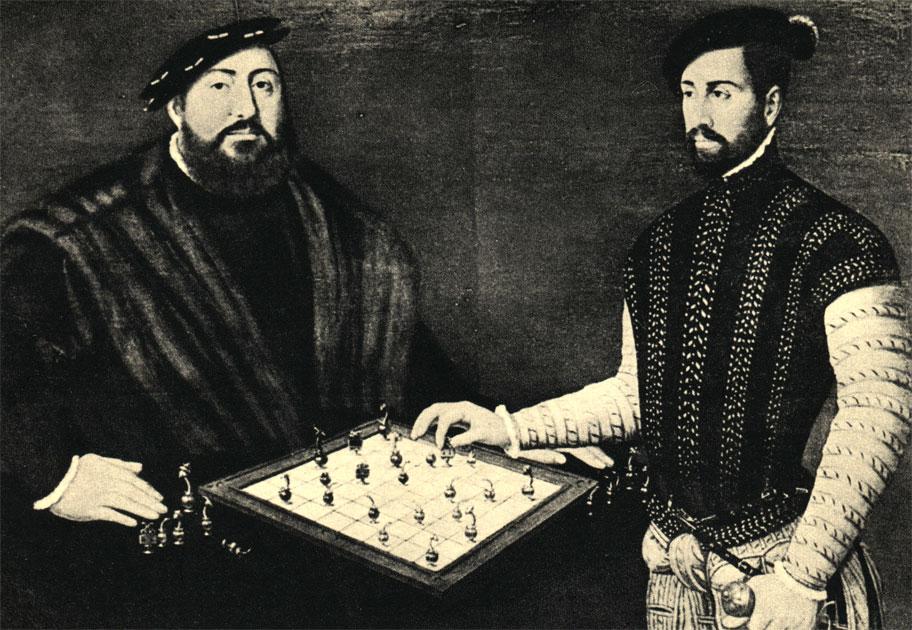 Саксонский электор Иоанн Фридрих Старший играет в шахматы с испанским капитаном. Картина нидерландского художника Антонио Мора (1549 г.), из собрания Замкового музея в Готха (ГДР)
