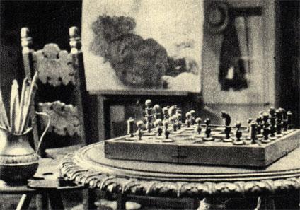 Шахматы польского художника прошлого века Яна Матейко в его мастерской в Доме-музее Матейко в Кракове