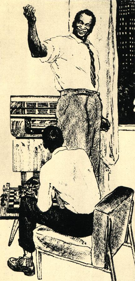 Известный американский певец Поль Робсон совместно с сыном изучает партию Ботвинник - Смыслов, Иллюстрация к рассказу Бориса Полевого 'Воскресный день Джо Хилла'. (Худ. О. Верейский - 'Огонёк')