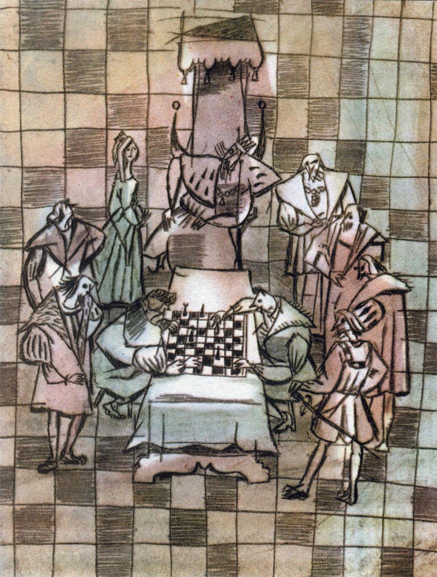 Рис. Адама Марчинского. Два соперника Федор и Борзуй за шахматной доской добиваются руки дочери датского короля Тарсеса. Иллюстрация к поэме Яна Кохановского 'Шахматы'