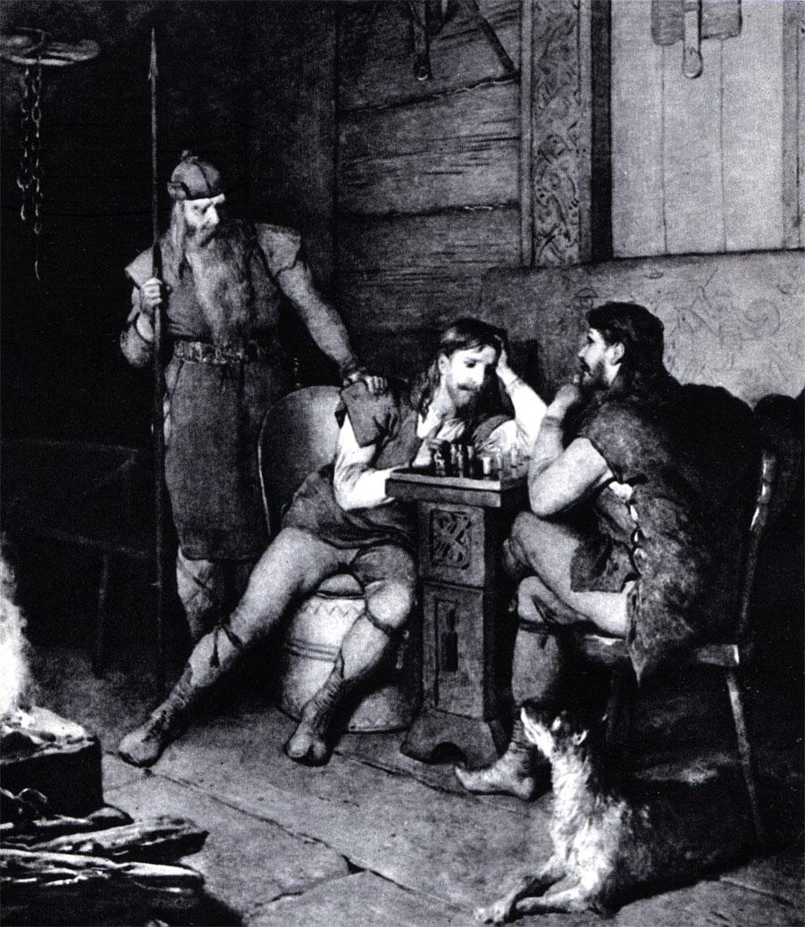 Фритьоф играет в шахматы с Бьерном. Иллюстрация А. Мальстрёма к шведскому изданию 'Саги о Фритьофе' (1888 г.)