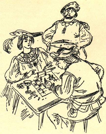 '...Не прошло и нескольких минут, как Анастазио опять объявил ему мат...' Иллюстрация к рассказу К. Либельта 'Игра в шахматы' (Худ. Я. М. Шанцер)
