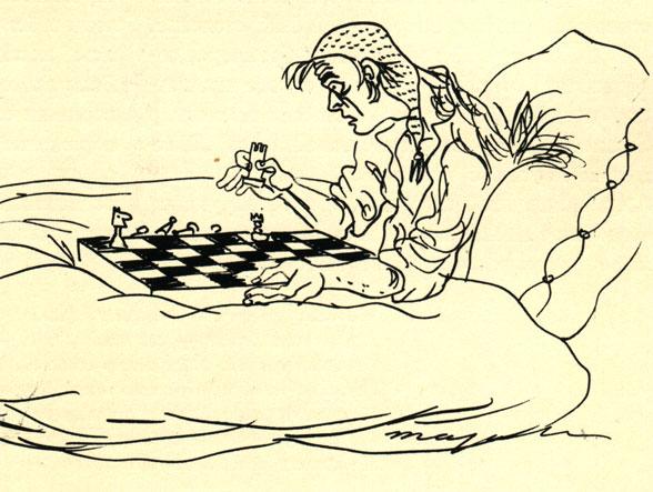 'Он играл сам с собой последнюю партию'... Иллюстрация к рассказу польского писателя Л. Немоевского 'Шах и мат', (Худ. М. Березовска)