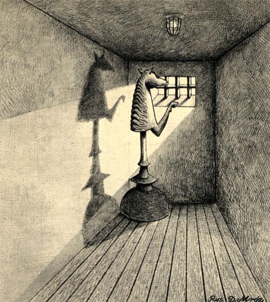 Иллюстрация к 'Шахматной новелле' Стефана Цвейга. (Худ. Д. Мруз - 'Пшекруй')