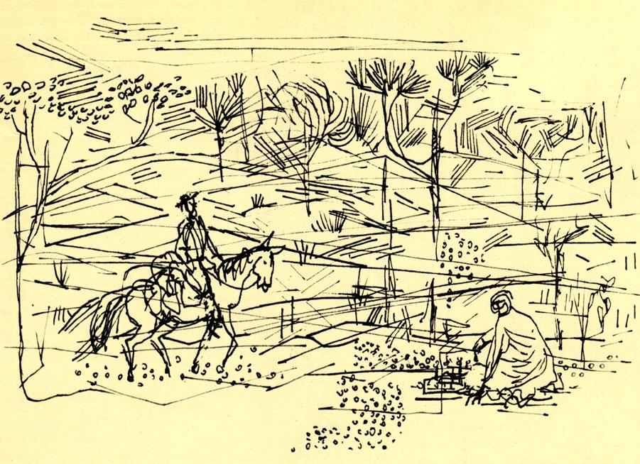 '...он заметил араба, сидевшего посреди дороги и игравшего с самим собой в шахматы'. Иллюстрация к новелле М. Йокая 'Шахматы'. (Худ. А. Марчински)