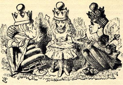 Оригинальные иллюстрации Джона Тэниэла к английскому изданию книги Льюиса Керролла 'Алиса в Зазеркалье'. Алиса превратилась из пешки в королеву и села рядом с подлинными шахматными монархинями