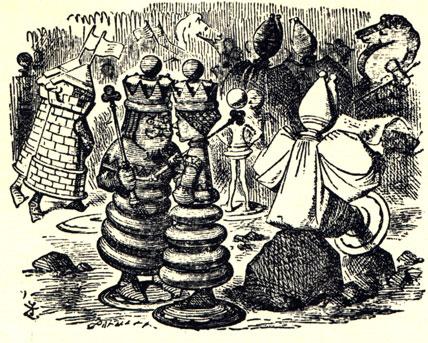 Оригинальная иллюстрация Джона Тэниэла к английскому изданию книги Льюиса Керролла. В мире шахматных фигурок.
