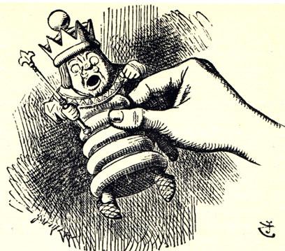 Оригинальная иллюстрация Джона Тэниэла к английскому изданию книги Льюиса Керролла. Король в руке Алисы