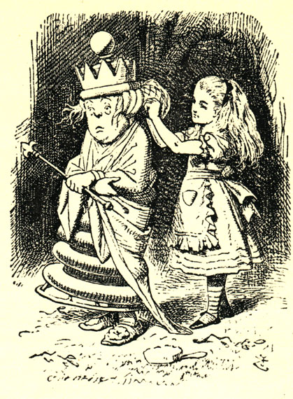 Алиса и белая королева. Оригинальная иллюстрация Джона Тэниэла к английскому изданию книги Льюиса Керролла 'Алиса в Зазеркалье'