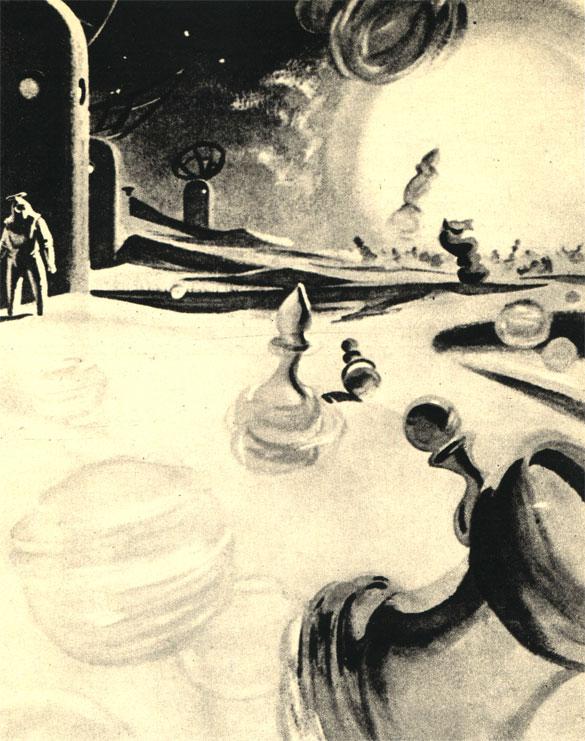 Иллюстрация А. Орлова к рассказу К. Д. Саймака 'Однажды на Меркурии'. ('Знание-сила')