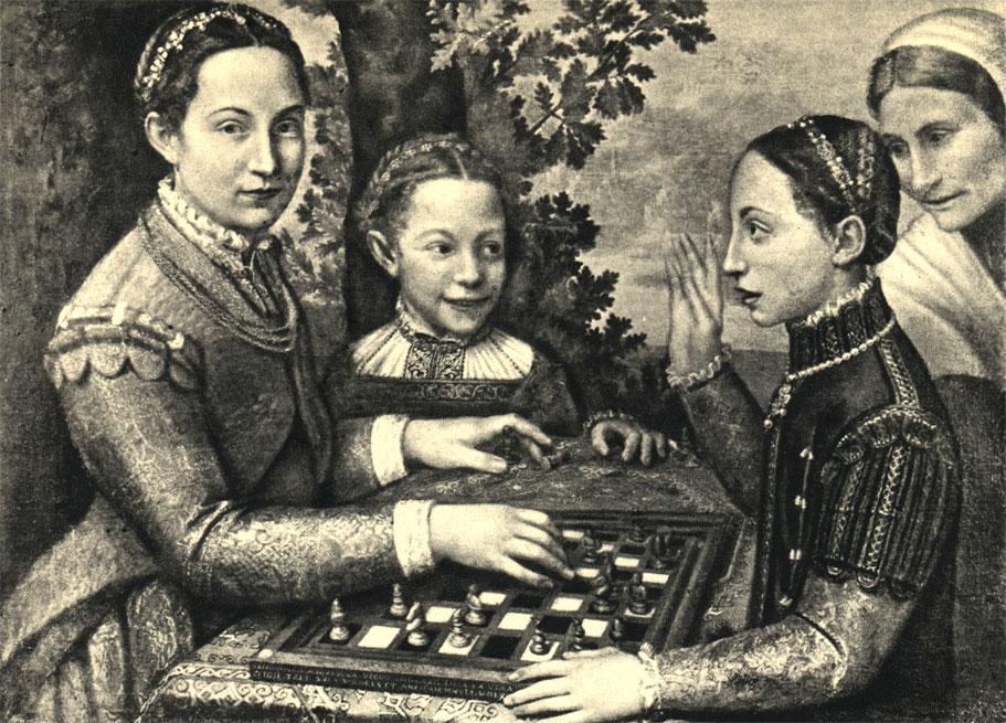 Софонизба Ангисчиоля: 'Партия шахмат' (1555 г.). На картине изображены три сестры художницы и старая служанка. Оригинал находится в Национальном музее в Познани