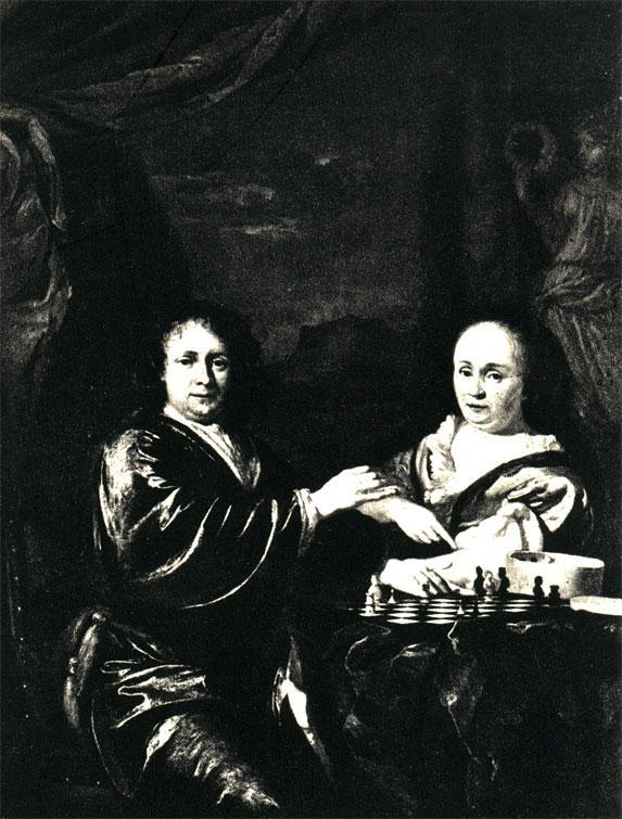 Адриан ван дер Верфф: 'Партия шахмат' (XVII-XVIII ее.). Картина находится е Художестеенной галерее в Дрездене