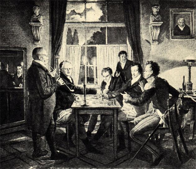 Иоганн Э. Гуммель: 'Шахматная партия в берлинском дворце Босс' (1818 г.). Картина находится в Национальном музее в Ганновере