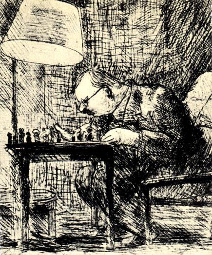 Данута Ревкевич: 'Над шахматной задачей' (1948 г.)