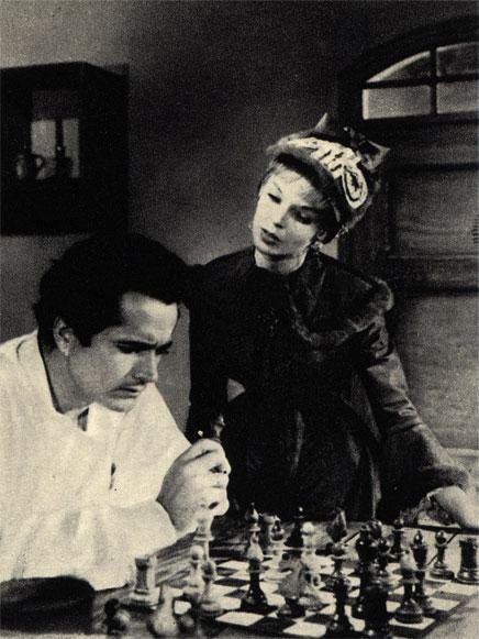 Кадр из франко-итальянского фильма 'Волжские паромщики' (1959 г.)