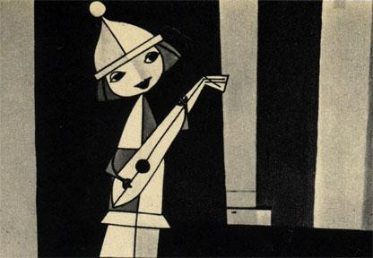 Два кадра из польского мультфильма 'Турнир'. Налево: белая пешка, счастливый обожатель дамы, из-за расположения которой ведут неустанное сражение Белый и Черный короли (направо)